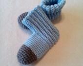 crocheted slippers / women's / light blue / grey / m/l