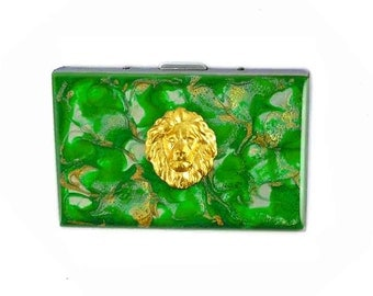 Accordion Wallet with Organizer Majestic Lion Inlaid In Hand Painted Enamel Emerald Quartz Inspired Custom Colors and Personalized Options