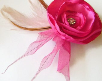 SALE FUCHSIA Rose Flower and Feather Hair Fascinator Clip with Skeleton leaves and Rhinestone Jewels