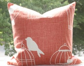 "Duralee Birdcage Melon Coral Orange Fabric 18"" x 18"" Pillow Cover"