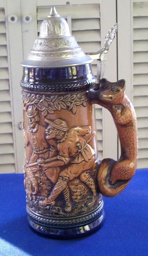 Gerz Gerzit West Germany Hunters Scene Beer Stein Fox Handle