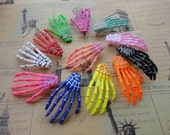 24pcs 70mmx40mm assorted colors (12 colors) skeleton hand hair alligator clip skull hand hair alligator clip