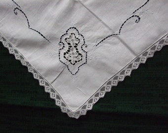 Card Table Cloth with Blue Embroidery and One Napkin