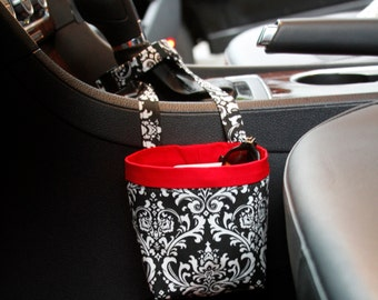 CAR CELLPHONE CADDY, Black Damask, Cell Phone Holder, Sunglasses Case, Beach Chair Holder, Golf Cart Gift, Mobile Accessories, Smartphone