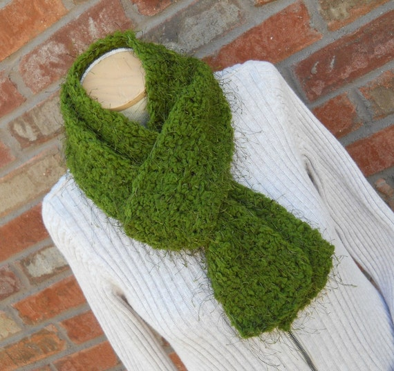 READY TO SHIP Emerald Green Scarf  Womens Scarf  Soft Scarf Autumn Scarf Hand Crochet Scarf  Winter Scarf Gift Ideas for Women Moss Green
