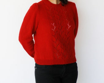 Vintage Red Sweater / 1970s Wool Sweater / Size L