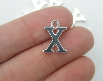 8 Letter X alphabet charms  silver plated