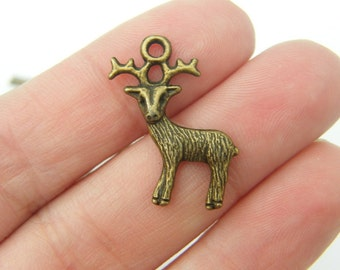 BULK 50 Reindeer charms antique bronze tone BC48
