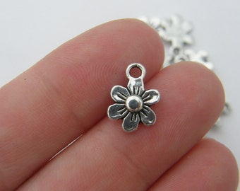 16 Flower charms antique silver tone F5