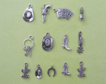 The Cowboy Collection - 13 antique silver tone charms