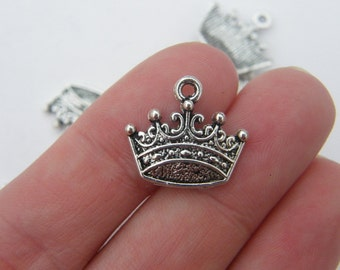 10 Crown charms antique silver tone CA11