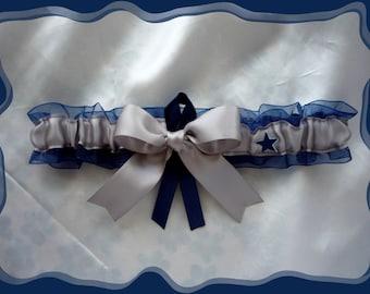 Navy Organza Ribbon Wedding Garter Toss Made with Dallas Cowboys Fabric