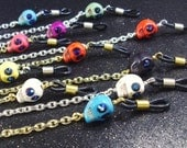 Howlite Skulls with midnight blue eyes, Eyeglass Lanyard