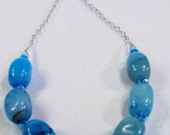 Blue Turquoise Malaysia Jade Nugget, Crystals, and Chain Necklace