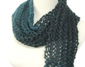 Sale, Green and Black Scarf,  Hand Knit Scarf, Knit Scarf, Fashion Scarf, Lacy Scarf, Gift Idea, Fiber Art, Ombre Scarf, Womens Scarf,