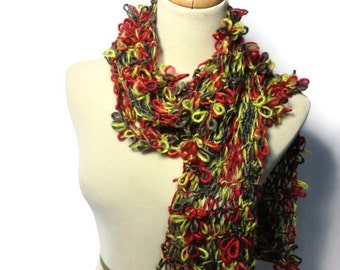 Knit Scarf, Hand Knit Scarf, Red And Green Scarf, Fashion Scarf, Jewel Tones Scarf, Womens Scarf, Fiber Art, Knitted Scarf