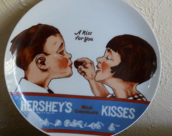 Vintage Hersey's Kisses Plate Boy Girl A Kiss For You