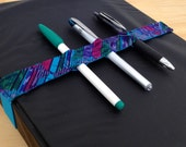 Large Teal and Purple Bandolier -- Keep your pens in place