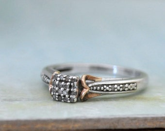 PETITE HEART vintage find  sterling silver and 14k gold engagement ring with diamonds U.S size 6.75