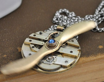 steampunk necklace AVIATION Aviator oversized propeller steampunk vintage brass pocket watch movement necklace