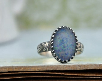 sterling silver Australian opal ring, OPAL RING,  hand made floral band oxidized sterling silver ring, made to order