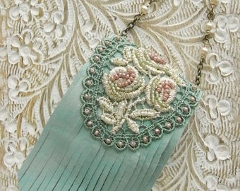 leather purse necklace, mint rose, gold rose lace, glass pearls, fringe purse, leather necklace, spring necklace,