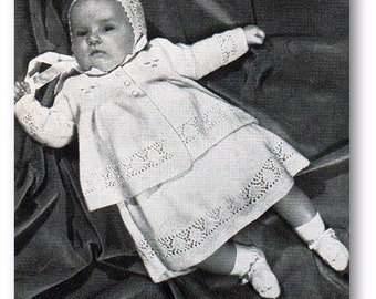 Baby Knitting Pattern  - Baby  - Layette Coat Dress Matinee Jacket Bonnet Booties Mitts Vest