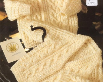 Free Knitting Pattern Baby Aran Cardigan : Popular items for aran sweater on Etsy