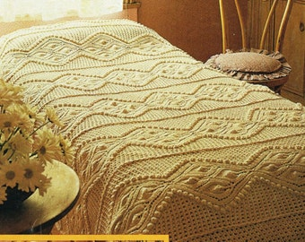 Knitting PATTERN -  Leaf and puff ball design Bedspread and Cushion/pillow