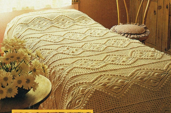 Knitting PATTERN Leaf and puff ball design Bedspread and
