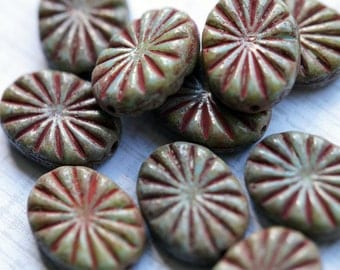 Large Turquoise Picasso Beads - Rustic Carved Star Burst Beads - Turquoise Ovals - Premium Czech Glass Beads