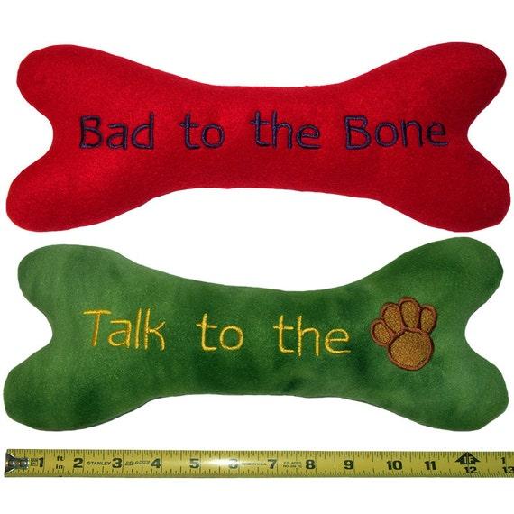 Dog Toy - Large Plush Squeaky dog bone - Personalized