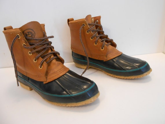 Excellent Vintage SPORTO Duck Shoes/Boots Blue Rubber With Brown/Tan
