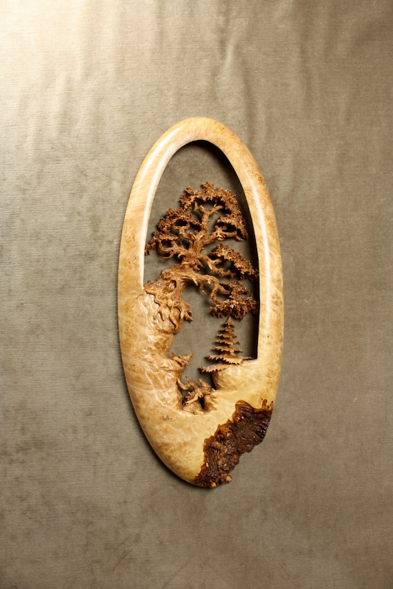 Oak Tree Wood Carving Art Sculpture Valentines Day Gift