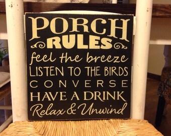 Primitive Decor,Porch Rules Sign, Porch Sign, Primitive Sign, Rustic, Farmhouse Decor, Wood Sign, Country Porch Sign