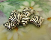 Store Wide Sale 5 Silver Plated Large Ornate Fan or Shell Beads Destash