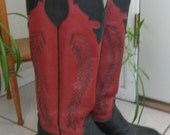 Vintage Olatha Womens Ladies Tall Red Leather Cowboy Boots, 1970s 1980s Mid Century Footwear, Size 5.5, 5 1/2 C, Made in USA