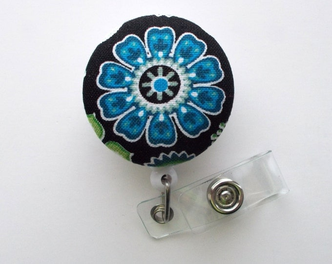 Blue Pinwheel Flower - Cute ID Badge Reel - Nurse Badge Holder - Nursing Badge Reel - Retractable ID Badge Reel - Teacher Badge