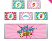 Pink Superhero Party - Personalized DIY printable Hershey bar labels