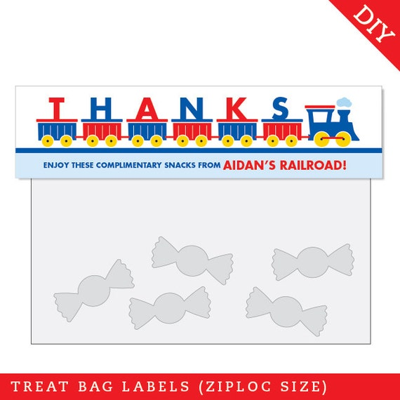 Train Party - Personalized DIY printable treat bag label