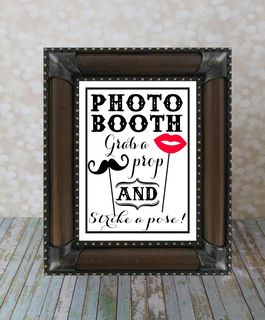 Photo Booth Grab A Prop And Strike A Pose. Wedding Sign 8 X 10
