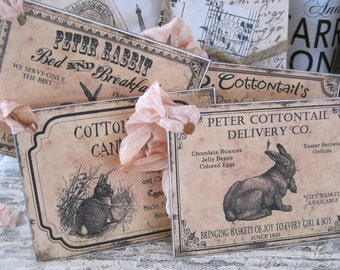 assorted vintage-inspired easter bunny tags set of 4