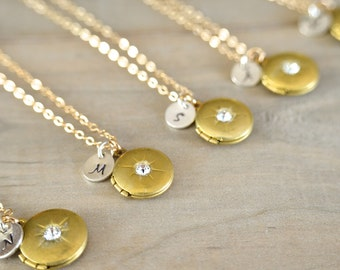 Bridesmaids Gift - 6 Personalized Locket Necklaces in Gold and Brass - Sterling Silver Initial with Birthstone - Bridal, Wedding - 10% off