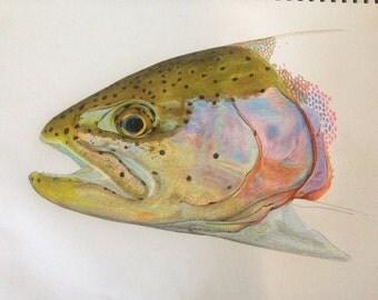 Colored Pencil Rainbow Trout ORIGINAL
