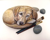 Realistic Pet Portrait  on a Stone,  8-9 in.- Painted Rocks by Shelli Bowler