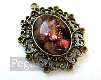 Red Fire Opal Glass Jewelry Bronze Pendant (1 Piece,25x18 cabochon)(F04) pendant jewelry for larp costumes,elven wedding,steampunk cosplay