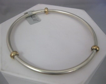 Sterling Silver and Gold Filled Hand Wrought Smooth Bangle Bracelet