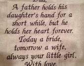 FATHER of the BRIDE - SCRIPT Heirloom Personalized Wedding Handkerchief Custom Embroidered