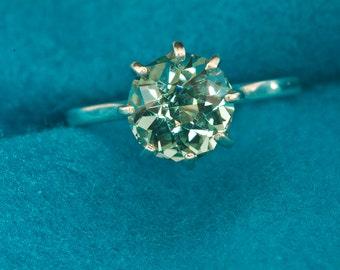 Green Amethyst Unique Engagement Ring, Custom Cut Gem Engagement, Birthstone Ring, Gemstone Engagement