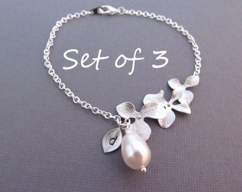 Set of 3 Bridesmaid Gifts, Silver Orchid Flower Bracelet with Teardrop Pearl and Initial Charm, Wedding Jewelry, Bridesmaid Bracelet